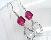 Pink Swarovski Crystal Earrings, Hammered Silver Earrings, Beaded Jewelry, Crystal Drop Earrings, Dangle Earring, Sterling Silver Jewelry
