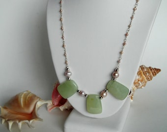 Chunky Aventurine Necklace with Pink Fresh Water Pearls and Silver