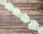 Ivory Shabby Chic Chiffon Flowers -  1/2 or 1 Yard Wholesale Lot - Frayed Vintage Rosettes - Half or One Yard