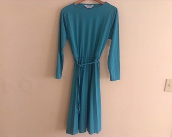 70s vintage women's small teal blue green polyester disco dress