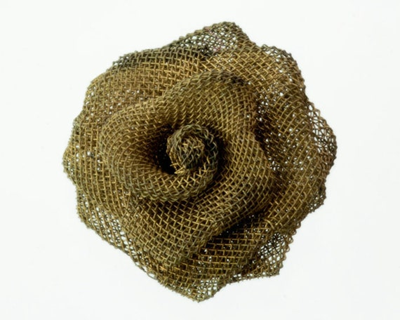 "2 Steampunk Flowers, 1"" Vintage Oxidized Brass Wire Mesh Rose, Unusual Altered Art, Collage, Mixed Media, Assemblage Metal Flower Part"