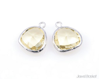 2pcs - Jonquil Yellow Color and Silver Framed Glass Pendant / jonquil / yellow / lemon / rhodium plated / glass / 13 x 16mm / SJQS001-P