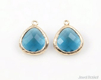 Montana Blue Glass and Gold Plated Frame Pendant - 2pcs Montana Blue Color Glass Pendant in Gold Frame / 13mm x 16mm / SMBG051-P