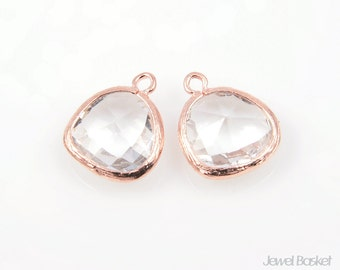 2pcs - Crystal Glass and Rose Gold Framed Pendent / crystal / clear / rose gold plating / glass / 13x16mm / SCRRG001-P