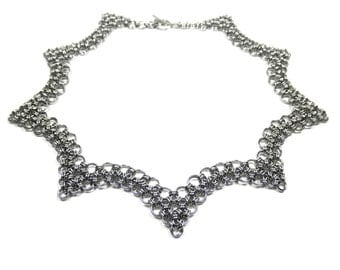 Steel Scallop Chain Mail Choker