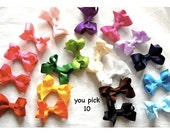You Pick Ten - Medium Size Bow - 2-1/2 Inch Classic Baby Hair Bow on Lined Alligator Clip - Baby Toddler Girl Barrette
