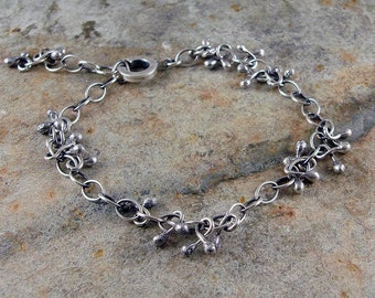 Organic dangly bracelet in oxidized sterling silver - Seed Pods
