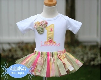 Personalized Shabby Floral Fabric Tutu First Birthday Outfit