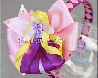 Rapunzel Headband, Rapunzel Ribbon Sculpture Hair Clip, Princess Hair Clip, Princess Hair Bow, Hair Bows for Girls