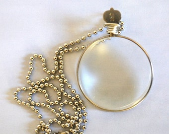 Extra Strong Magnifying Monocle Necklace Vintage Optical Lens Pendant, Functional Reading Lens