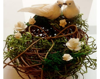 Unique handmade loving birds nest ring dish ring bearer
