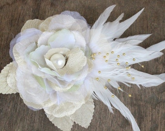 Very  cute  organza flower with feather