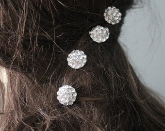 Beautiful  silver color bobby  with sparkling rhinestones  2  pieces listing