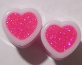 """Vibe Pink Sparkle Heart Plugs - 2g,0,00g,7/16,9/16,5/8,11/16,3/4,7/8,1"""""""