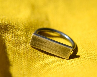 Silver Ring, Horizontal Plank Geometric Sterling Silver Ring, One of a Kind