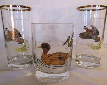 Vintage Ned Smith Bob White and Culver Green Winged Teal Glasses Waterfowl