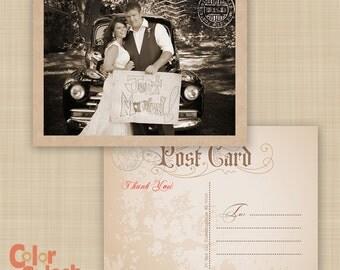 Vintage Wedding Postcard Thank You - Vintage Postcard - Wedding Postcard