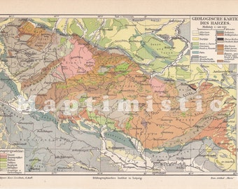 1903 Geological Map of the Harz Mountains in the 19th Century - Original Antique Geographical Map
