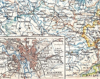 1894 Hanover or Hannover Saxony in the 19th Century Antique Map