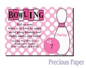 Digital Girls bowling birthday invitations Pink Bowling Birthday Party Invitations Pink bowling invitation Printable Download within 24 hour