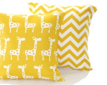 Yellow Nursery Pillow Covers,