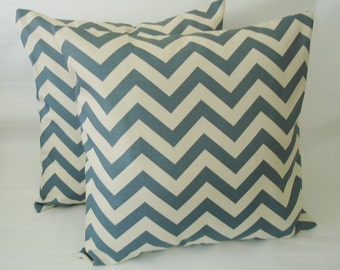 Blue Pillow.  Two 20 x 20 inch.Decorator Throw Pillow Cover.Printed Fabric Front and Back.Blue ZigZag.Cushion Cover.Housewares.Home Decor
