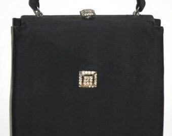 Vintage Black Rhinestone Handbag, 1960's Formal Purse