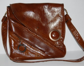 Vintage 1970's Boho Purse, Faux Leather, Retro Style Handbag