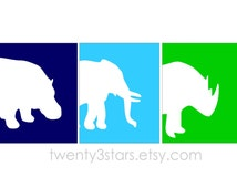 Zoo Art Prints Trio, Choose Your Colors, Great Boy's Room Art, Perfect for Zoo or Jungle Theme Nursery or Baby Shower Gift