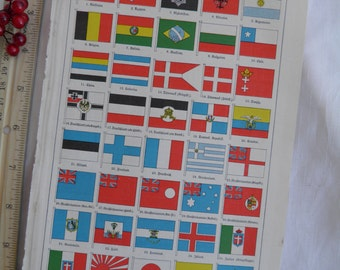 1925 Flags of the World - German Text Lithograph - 2 Sided
