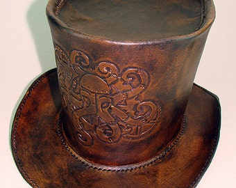 handemade Leather top hat steampunk octopus M - 22/23 57 to 58 centimeters