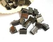 20 Gunmetal Crimp Ribbon End Caps - 8mm