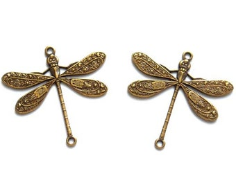 2 Antique Brass Dragonfly Connectors - 2-IN-9