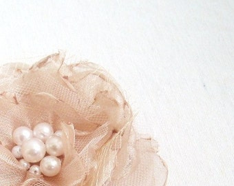 Bridal Hair Flower Clip Accessory Champagne Organza with Pearl Center and Tulle Leaves Flowergirl Bridesmaid Accessory