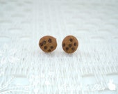 New: Miniature Chocolate Chips Ahoy Polymer Clay Cookie Stud Earrings