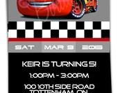 Digital, Lightning McQueen Birthday Invitation