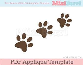 Paw Applique Template in 3 Sizes - PDF Applique Pattern Instant Download
