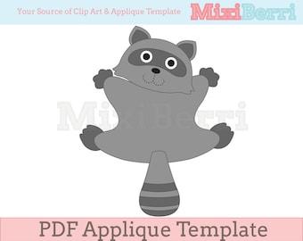 Raccoon Back View Applique Template PDF Applique Pattern