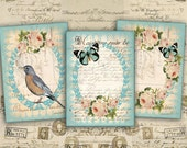 Digital Collage Sheet - Greeting Cards - Digital Backgrounds - Jewelry Holders - Instant Download - Paper Craft - BLUE ROMANTICA1