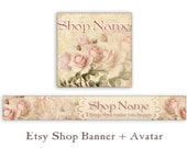 Pink Etsy shop banner and avatar Personalized banner Vintage Etsy shop set Digital Download Cute Bookmarks Paper goods - PINK SHABBY ROSES