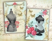 Digital Collage Sheet - Vintage Greeting Cards - Digital backgrounds Jewelry holders Paper craft - DRESS FORM BEAUTY