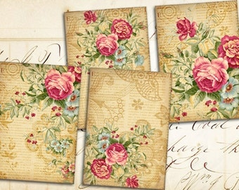 4 Large Transfer  Images - Digital Collage Sheet - Printable Downloads - Best for scrapbooking and journaling - ANTIQUE VISIONS