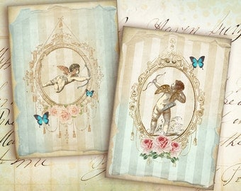 Digital Collage Sheet - Greeting Cards - Instant Download - Digital Backgrounds - Jewelry Holders - Paper Craft - ANGEL CARDS
