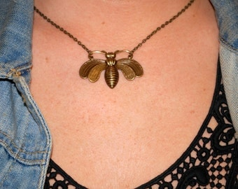 Bzzzzz. Antiqued bronze bee necklace.
