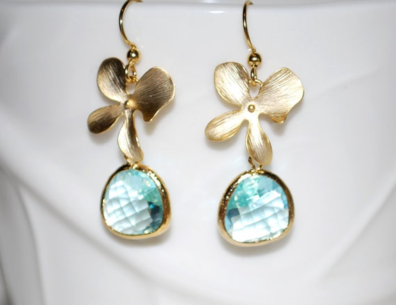 Gold Orchid Earrings Aquamarine Earrings Flower Dangle