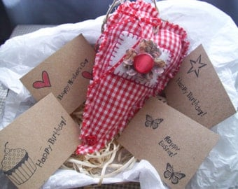 Father's Day, Card and Heart, Birthday, Anniversay, Send a Heart, HANDMADE, Primitive Heart,  Rustic Heart, Get Well, Miss You, Love