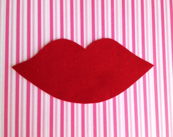 Iron-On LIPS Appliqué- Deep Red