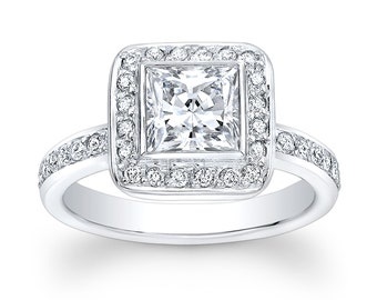 Women's 18kt white gold vintage engagement ring with 1ct Princess Cut White Sapphire Center and 0.50 ctw G-VS2 pave diamonds