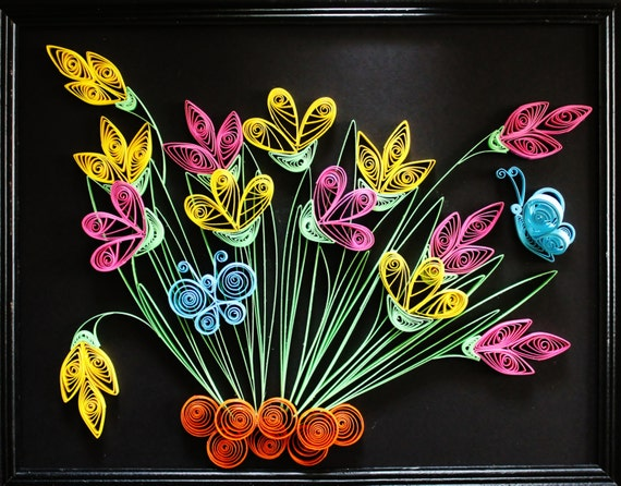 Quilling Paper Flowers Ooak Quilled Paper Art