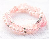 Pink Bead Stretch Stack Bracelet in Watermelon Quartz, Pink Pearl and Silver